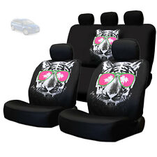 NEW BLACK FABRIC TIGER FACE LOGO FRONT AND REAR CAR SEAT COVERS SET FOR MAZDA