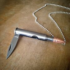 Silver Rifle Bullet Pocket Knife Necklace Shell Charm Chain Pendant Steel Blade