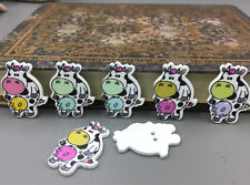 DIY 25X Cartoon Wooden Cows shape buttons 2-holes sewing crafts decoration 29mm