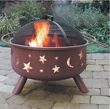 Outdoor Fire Pit Large Wood Burning Metal Fireplace Heater Bowl Cover Patio Deck