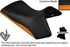 BLACK & ORANGE CUSTOM FITS KTM ADVENTURE 1190 13-14 FRONT LEATHER SEAT COVER
