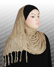 Muslim Hijab Islamic Shawl Headscarf Silver Radiant #8 Beige Ships from USA
