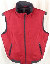 Ralph Lauren Chaps Red Puffer Vest w/ Gray Fleece Lining - Size Large