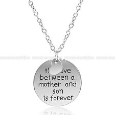 The Love Between Mother and Son Is Forever Necklace Charm Heart Pendant Chain