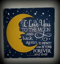 I Love You To The Moon and Back Infinity Baby Boy Girl Nursery Sign Decoration