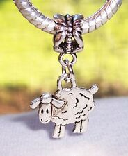Sheep Lamb Farm Animal 2 Sided Dangle Bead fits Silver European Charm Bracelets