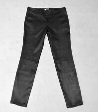 NEW Auth HELMUT LANG Black Leather Stretch Plonge 2 Seamed Moto Pants Sz 6 $1295