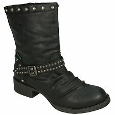 LADIES BLOWFISH KATWALK STUDDED FAUX LEATHER BOOTS - UK SIZE 3 - BLACK RELAX.