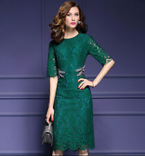 Women's Green Black Lace Beaded Dragonfly Cocktail Party Midi Dress Size 2 To 10