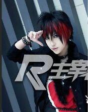 LY_505 Punk Gothic Short Black mix Red Bob Boy Man Custome Cosplay Anime Wig