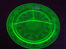 "Vintage 1930's Hocking ""Cameo"" Vaseline Uranium Depression Glass Relish Tray"