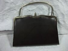 Vintage Metal Frame Dark Brown Clutch Faux Leather