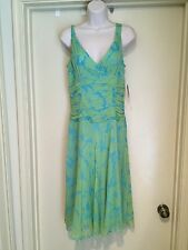 Jonathan Martin Studio Silk Green & blue Dress L@@K Size 6 NWT
