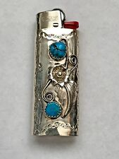 Sterling Silver Navajo Handmade 2 Turquoise Mini Bic Lighter Case/Cover