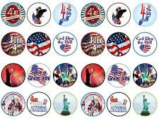 24 independence day 4th July America liberty USA bun cupcake cake toppers party
