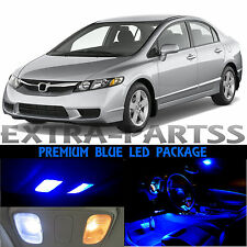 8x Blue Interior LED Light Package Kit Dome 2006-2012 Honda Civic Sedan Coupe