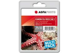 AGFA PHOTO CANON 4-SET  CLI-521 C Y M + PGI-520 for Pixma ip 4600 3600 MP550