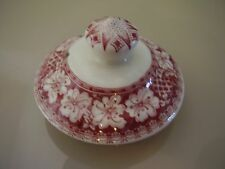 Teapot or Coffee Pot Lid Pink Transfer Ware Floral and Lattice Design.