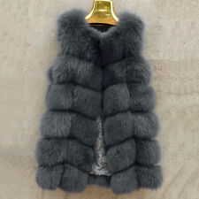 Genuine Noble SexySlim 100% Real Fox Fur Vest Women Gilet New Long Jacket Coat
