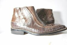 Stacy Adams Leather Dress Executive Ankle Boots Brown Alligator Croc Print  8.5