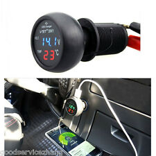 Car Cigarette USB Port Charger Adapter Digital LED Display Voltmeter Thermometer
