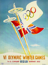 1952 Olympic Winter Games Oslo Norway Scandinavia Travel Advertisement Poster