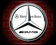 MERCEDES AMG LARGE LED 2FT ILLUMINATED GARAGE WALL LIGHT BADGE SIGN LOGO EMBLEM