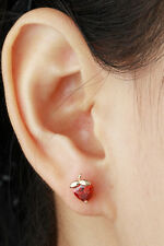 Heart Cut Ruby Red Strawberry Stud Earrings 18K Gold GF Girls Kids Jewellery