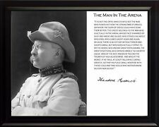 Theodore Teddy Roosevelt Man In The Arena Quote Framed Photo Picture 8x10