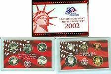 2002 S US Mint Proof Set 90% Silver Quarters, Dime, Half (10 coins)