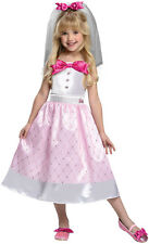 BARBIE BRIDE Costume Girl Pink White Wedding Dress Bridal Veil Child Small 4 5 6