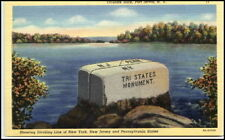 Vintage Pc USA Port Jervis NY Tri-State Monument AK