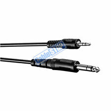 "2M - 6.35mm Stereo Male 1/4"" Jack to 3.5mm Headphone Plug Audio Cable Lead 2mtr"