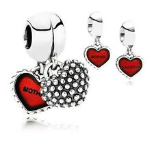 Mother and Daughter Red Duo Genuine High Quality Silver s925 Charm +Gift Pouch