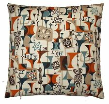Pillow with Mid-Century Modern ATOMIC #2926 barkcloth fabric