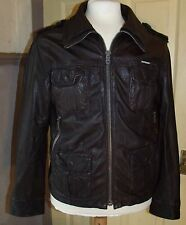 "SUPERDRY Men's Dark Brown Leather Cuir Cuero Biker Style Jacket L 42-44"" Chest"