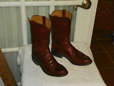 LUCCHESE HANDMADE Men's Brown Leather Roper Cowboy Western Boots size 7 D USA