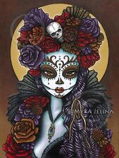 Dia De Muertos Dalia Calaca Candy Skull Ltd Edition Signed CANVAS Embellished