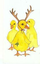 """CHRISTMAS GREETING BABY DUCKS """"DUCK THE HALLS"""" BY CHING ON POSTCARD (X-217)"""