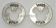 Disney 2 PIECES OF MAGIC LAUGH OFTEN MICKEY MOUSE CHARMS Good Luck Tokens WDW