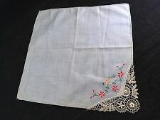 VINTAGE LADIES' BLUE HANKIE/HANDKERCHIEF WITH RED EMBROIDERY FLOWERS AND CROCHET