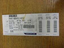 BIGLIETTO 09/02/2013: Tottenham hotpsur V Newcastle United (piegato, completo). la PTA