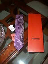 nwt MISSONI violet / burgundy silk neck tie 41 Made in Italy $125 Macy's