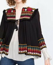 Zara Embroidered Boho Kaftan Jacket Blouse Size Medium fits 10-12 bnwot
