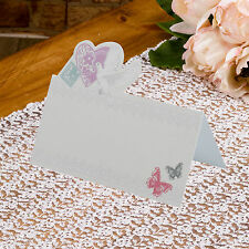 50 TABLE PLACE CARDS Name Setting Wedding WITH LOVE Doves Lace Butterflies Ivory