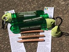 Geocaching container Set Of 3 With Log Labels And Pencils With Hanging Clip