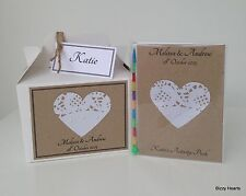 PERSONALISED CHILDS A6 WEDDING ACTIVITY PACK & BOX VINTAGE HEART & PEARLS GIFT