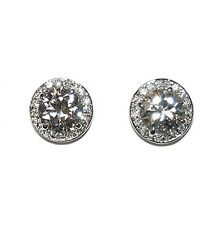HUGE ROUND HALO CUBIC ZIRCONIA RHODIUM STUD EARRINGS 15MM OF BLING