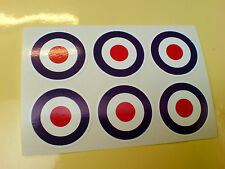 RAF ROUNDELS Scooter Aeroplane Model Car Van Stickers Decals 6 off 25mm