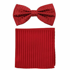 New formal men's pre tied Bow tie & Pocket Square Hankie Set stripes Red prom